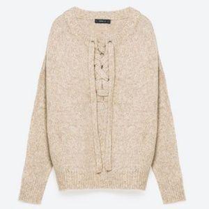 Zara Knit Wool Lace Up Beige Sweater